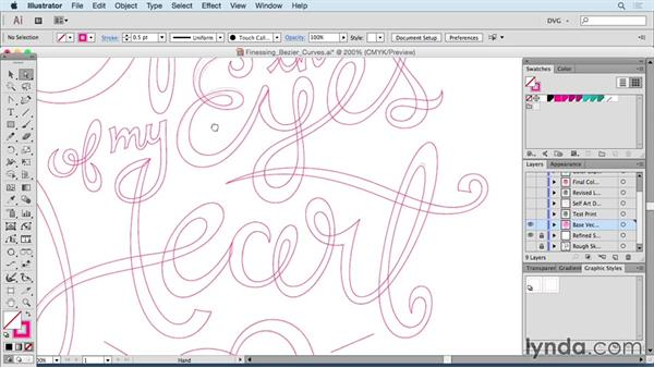 Finessing Bezier curves: Drawing Vector Graphics: Hand Lettering