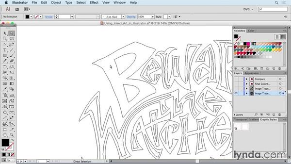 Using inked art in Illustrator: Drawing Vector Graphics: Hand Lettering