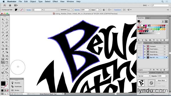 Using Adobe Draw inked art in Illustrator: Drawing Vector Graphics: Hand Lettering