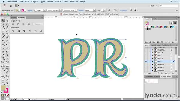 Inlines, droplines, and drop shadows: Drawing Vector Graphics: Hand Lettering