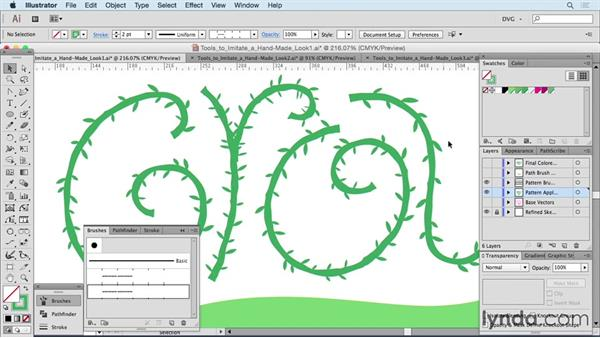 Using tools to imitate a handmade look: Drawing Vector Graphics: Hand Lettering