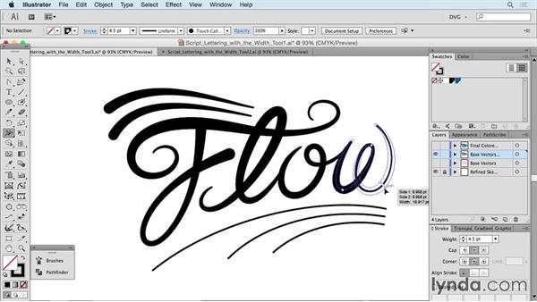 Script lettering with the Width tool: Drawing Vector Graphics: Hand Lettering