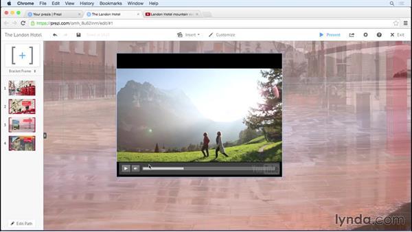 Adding video: Prezi Essential Training