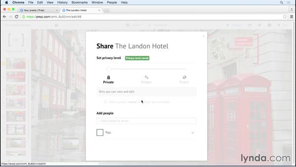 Configuring privacy levels for sharing: Prezi Essential Training