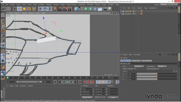 Extruding polygons: Hard Surface Sculpting and Retopologizing in CINEMA 4D