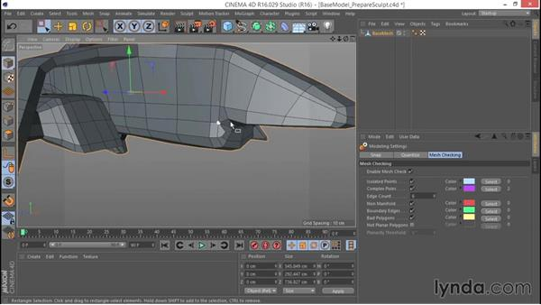 Preparing the base mesh for sculpting: Hard Surface Sculpting and Retopologizing in CINEMA 4D