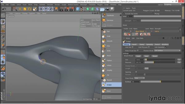 Exploring the Scrape and Fill brushes: Hard Surface Sculpting and Retopologizing in CINEMA 4D
