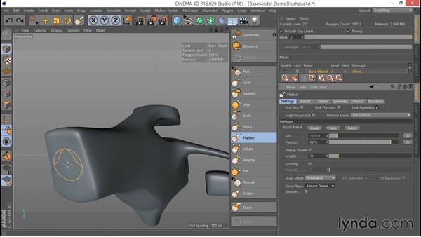 Using the Flatten brush: Hard Surface Sculpting and Retopologizing in CINEMA 4D