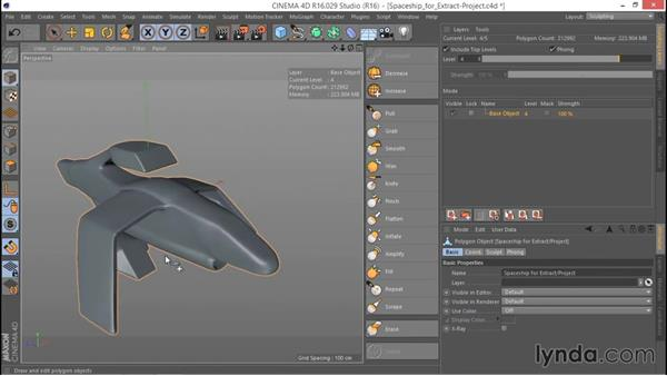 Extracting the retopo target model: Hard Surface Sculpting and Retopologizing in CINEMA 4D