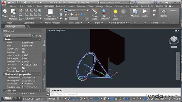 Adding and adjusting lighting: Rendering with AutoCAD