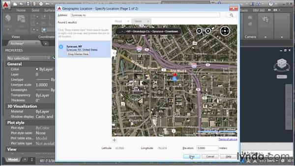 Setting the geolocation: Rendering with AutoCAD