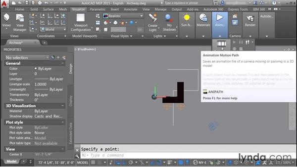 Setting up animation motion paths: Rendering with AutoCAD