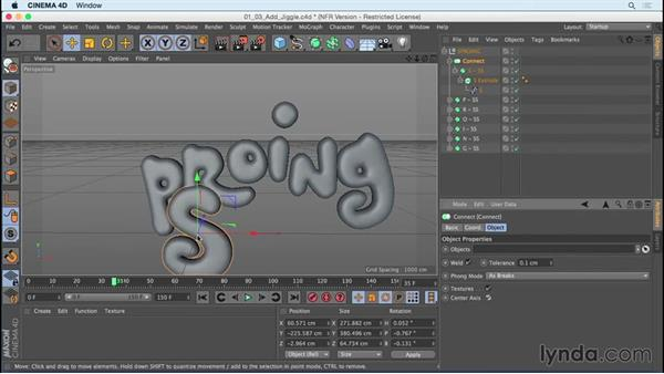 Prepping text to be animated with the Jiggle deformer: Mograph Techniques: Creating a Bouncy Cartoon Logo in CINEMA 4D