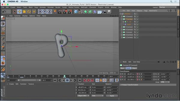 """Animating """"P"""" using Jiggle deformer: Mograph Techniques: Creating a Bouncy Cartoon Logo in CINEMA 4D"""