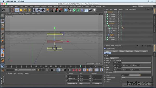 """Animating """"I"""" using Jiggle deformer and Scale: Mograph Techniques: Creating a Bouncy Cartoon Logo in CINEMA 4D"""