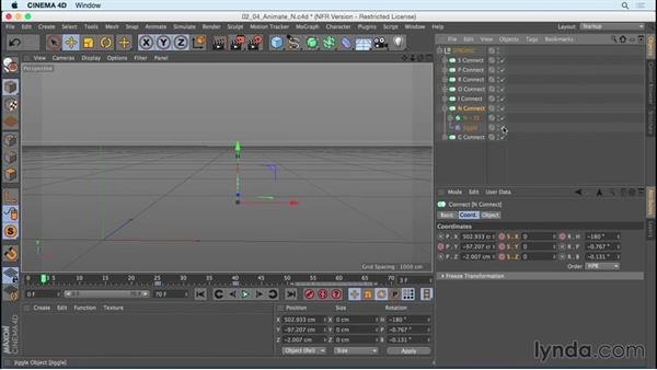 """Animating """"N"""" using Jiggle deformer and Rotate: Mograph Techniques: Creating a Bouncy Cartoon Logo in CINEMA 4D"""