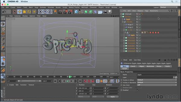 Applying Jiggle to the Bulge deformers: Mograph Techniques: Creating a Bouncy Cartoon Logo in CINEMA 4D