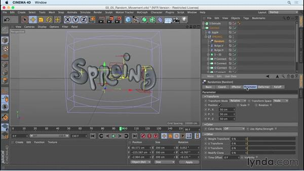 Adding random movement to letters: Mograph Techniques: Creating a Bouncy Cartoon Logo in CINEMA 4D