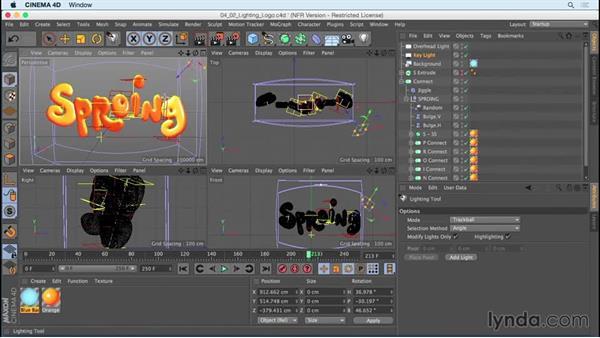 Lighting the logo: Mograph Techniques: Creating a Bouncy Cartoon Logo in CINEMA 4D