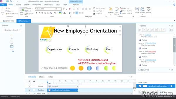 Working with slides and text: Up and Running with Articulate Storyline 2