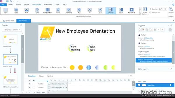 Previewing, adjusting, and adding transitions: Up and Running with Articulate Storyline 2