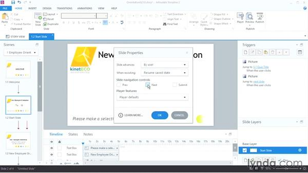 Changing slide and player properties: Up and Running with Articulate Storyline 2