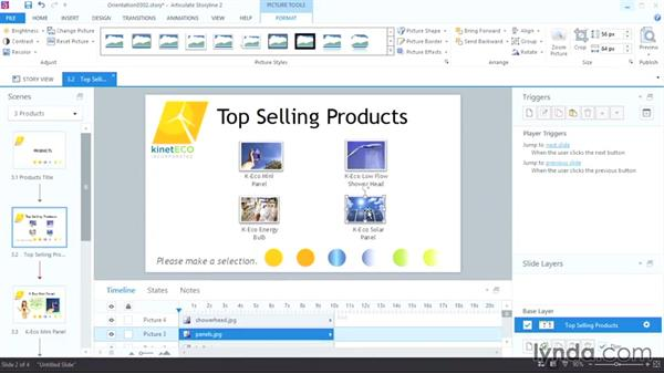 Sizing, cropping, and arranging images: Up and Running with Articulate Storyline 2