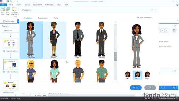 Using built-in characters: Up and Running with Articulate Storyline 2