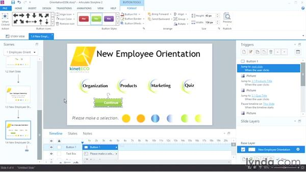 Creating and editing buttons: Up and Running with Articulate Storyline 2
