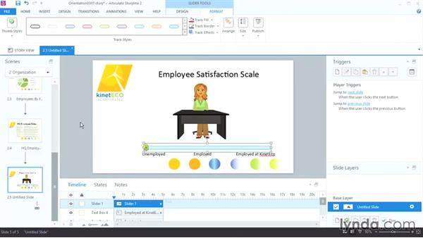 Adding interactive sliders: Up and Running with Articulate Storyline 2