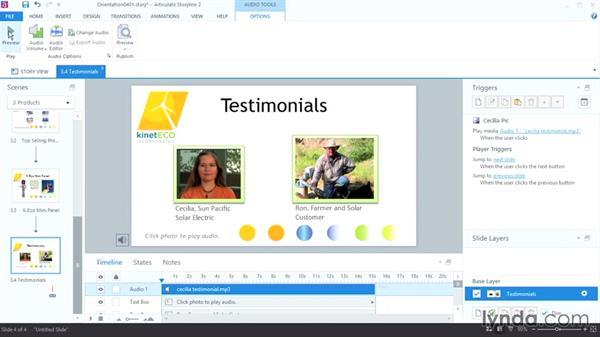 Adding background audio: Up and Running with Articulate Storyline 2