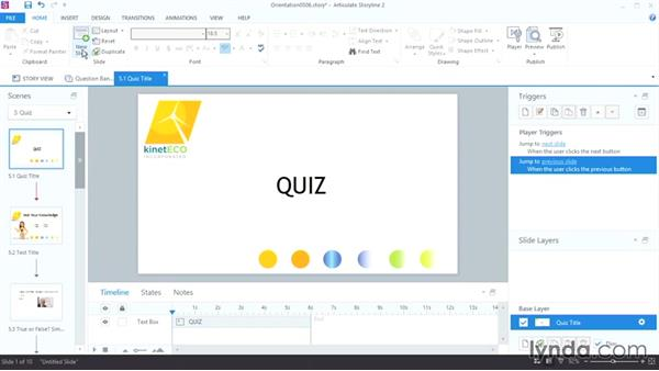 Saving time with question banks: Up and Running with Articulate Storyline 2