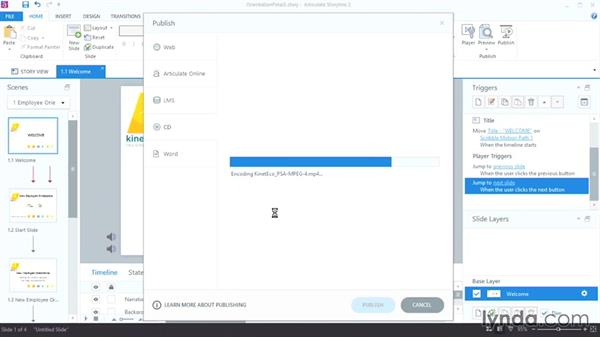 Publishing a project to disk: Up and Running with Articulate Storyline 2
