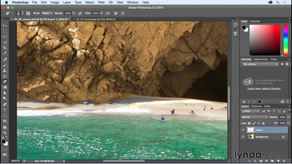 Compositing the beach scene: Bert Monroy: Dreamscapes - Sacred Cavern