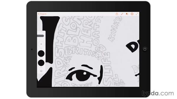 Digitally inking shadowed areas: Artist at Work: Hand-Drawn Type Portrait