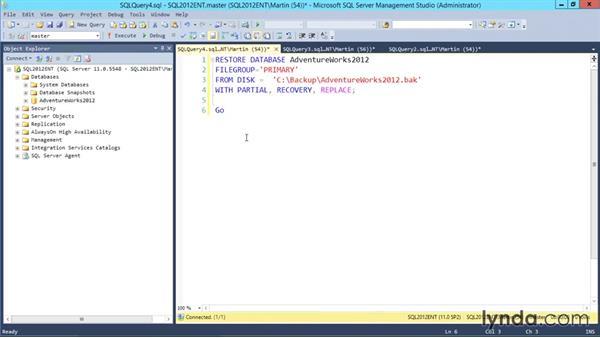 Restoring filegroups separately: Designing Database Solutions for SQL Server 2012