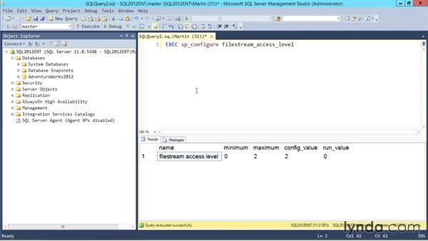 Enabling FileStream access: Designing Database Solutions for SQL Server 2012
