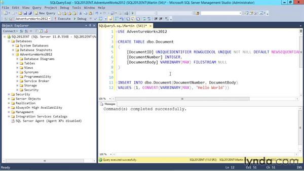 Using FileStream data: Designing Database Solutions for SQL Server 2012