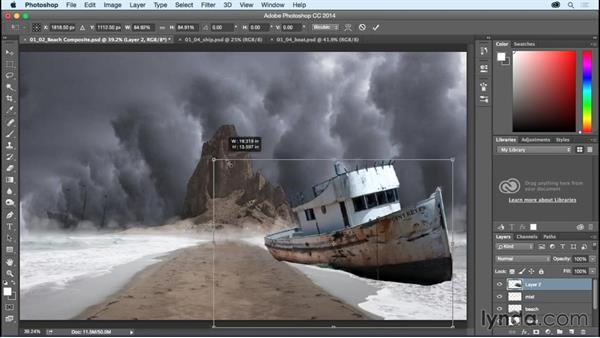 Adding in the ship and smaller boat: Bert Monroy: Dreamscapes - The Magic Orb