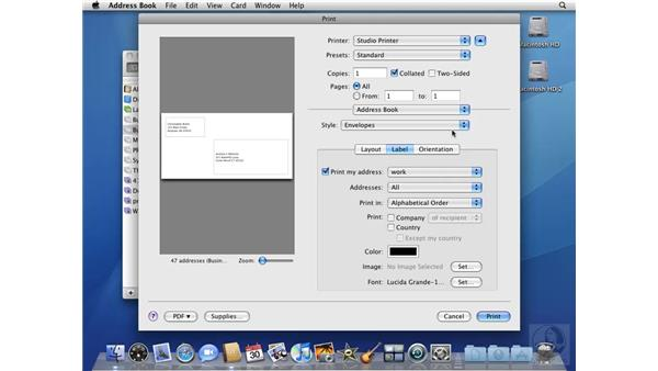 Printing from your Address Book: Mac OS X 10.5 Leopard Beyond the Basics