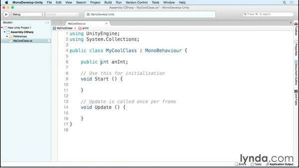 Defining classes and variables: Scripting Unity with C#