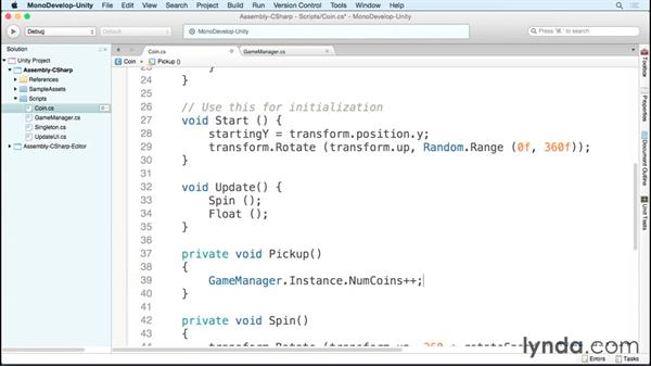 Picking up coins: Scripting Unity with C#