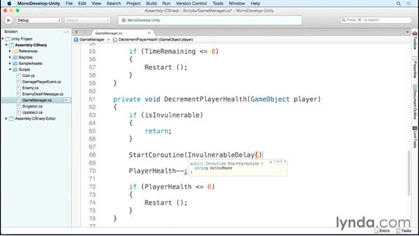 Using an event to damage the player: Scripting Unity with C#
