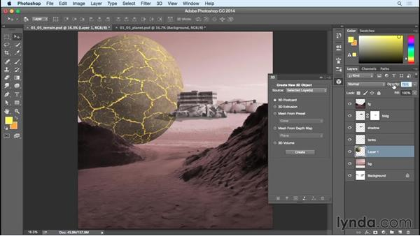 Compositing and adding a mask to the larger planet: Bert Monroy: Dreamscapes - Offworld Mining