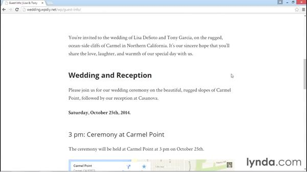 A preview of the final site: WordPress DIY: Weddings and Special Events
