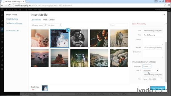 Using WordPress image and image gallery functions: WordPress DIY: Weddings and Special Events