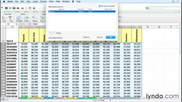 Rearranging columns with Sort: Excel 2011 for the Mac: Managing and Analyzing Data