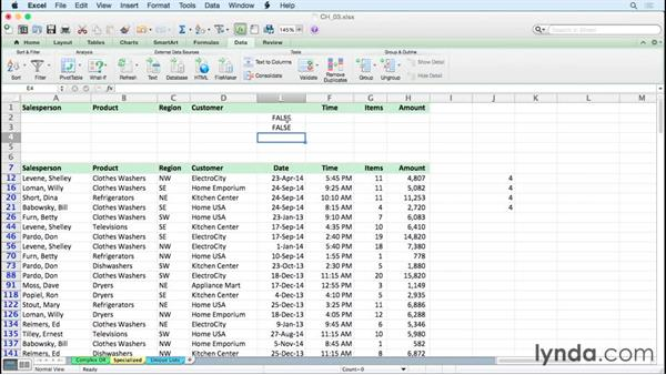 Using Advanced Filter for specialized filters: Excel 2011 for the Mac: Managing and Analyzing Data