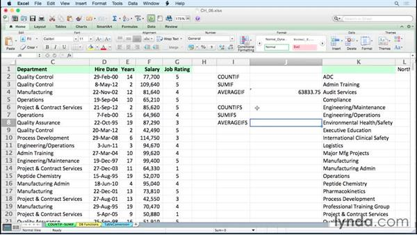 Analyzing data quickly with SUMIF, COUNTIF, and related functions: Excel 2011 for the Mac: Managing and Analyzing Data