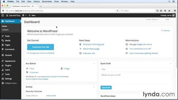 Adding key content to the site: WordPress and Genesis DIY: Weddings and Special Events